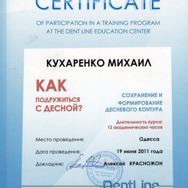 Сертификат: формирование десны